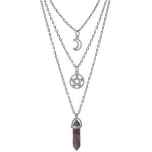 Jewelry - Multilayered Star Moon Stone Necklace